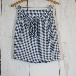 Emmelee Short Tie Skirt Navy Gingham Small